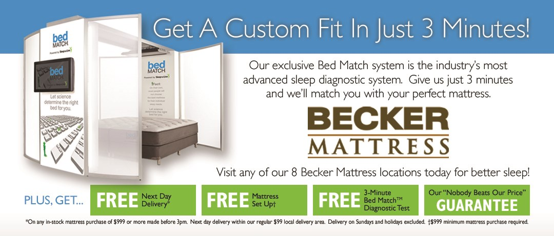 Becker Furniture World Has All Your Mattress And Bedding Needs Covered.  With A Full Selection Of Mattress Sizes, Comfort Levels, And Brand Names,  ...