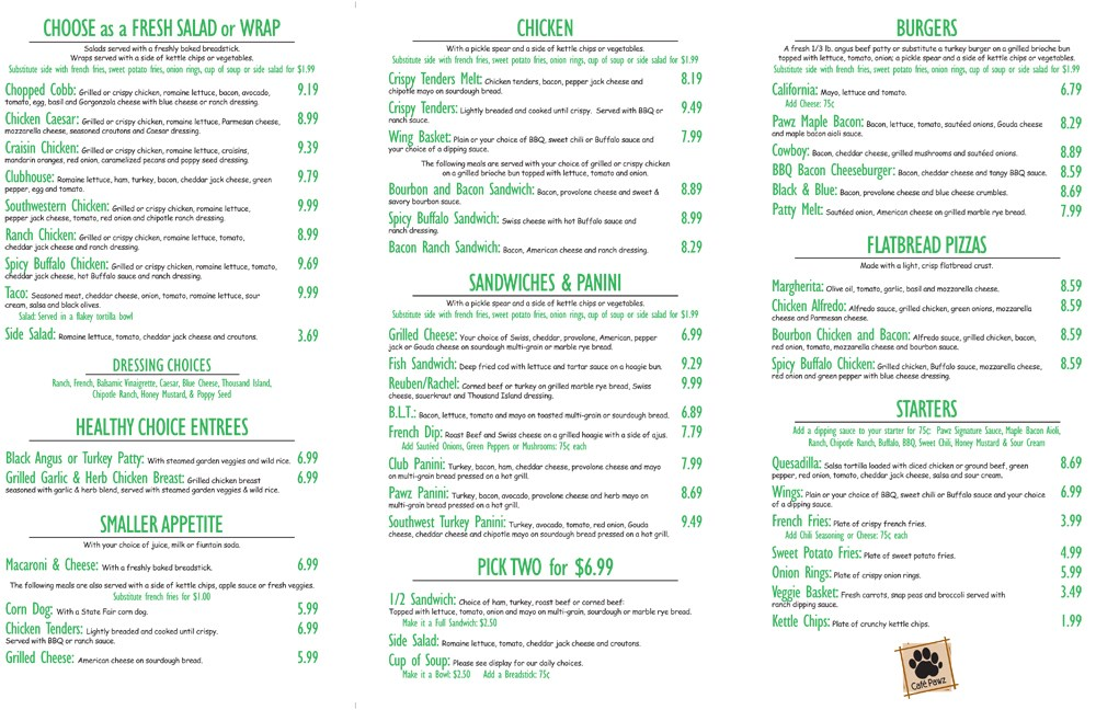 Download our delicious menu here living room cafe coupon for Living room menu