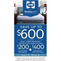 Save up to $600 on Select sealy hybrid adjustable mattress sets