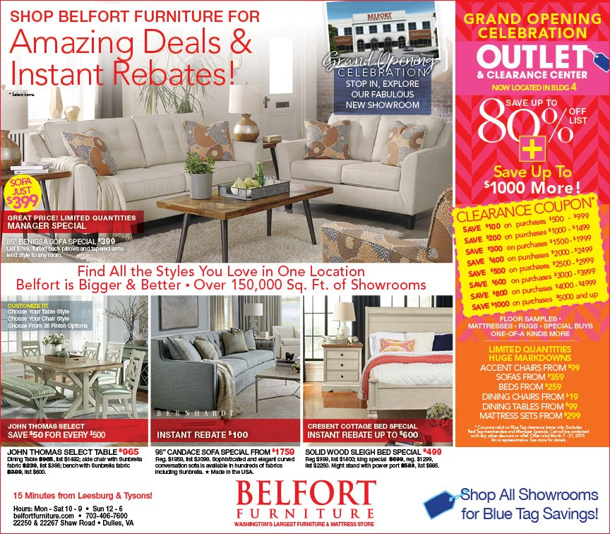 Grand Opening Furniture Outlet, save up to $1000 more on blue tag items.