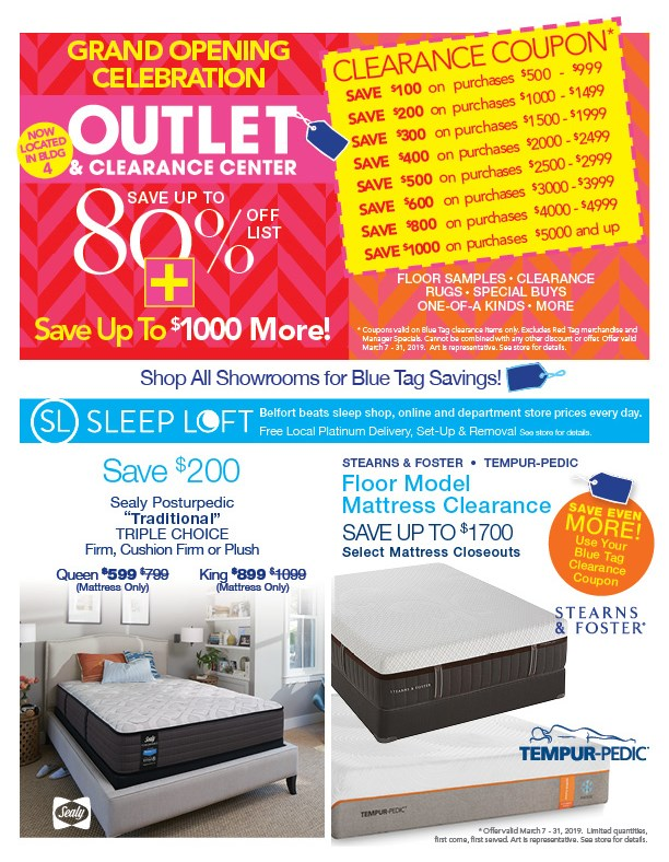 Grand Opening New Outlet and Clearance Center, save up to $1000 more on Blue Tags