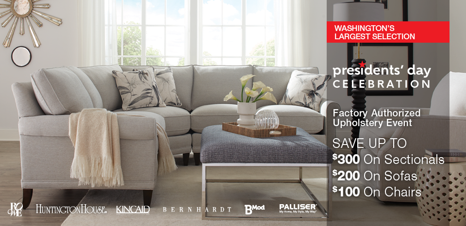 Presidents' Day special, save up to $300 on select upholstery