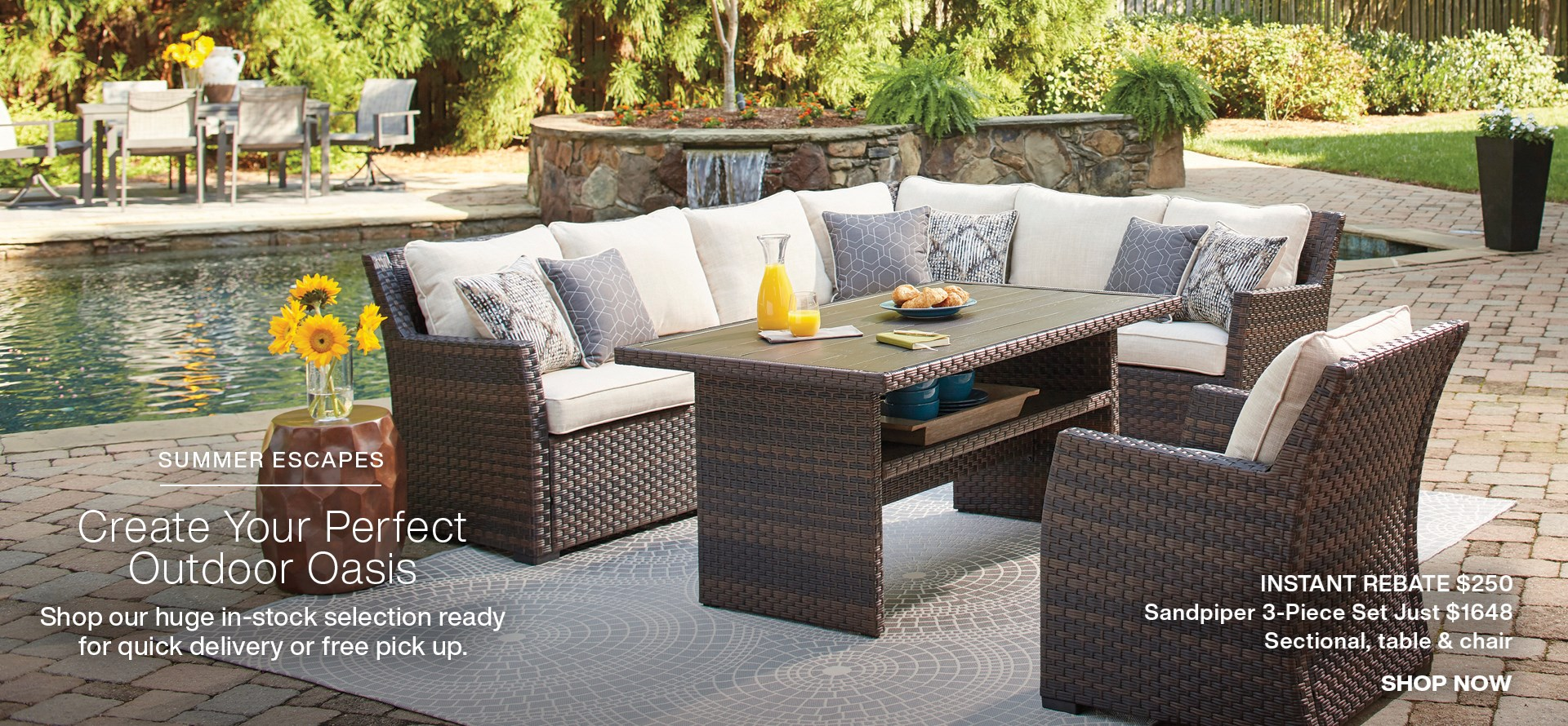 Create your perfect outdoor oasis, shop in-stock outdoor furniture