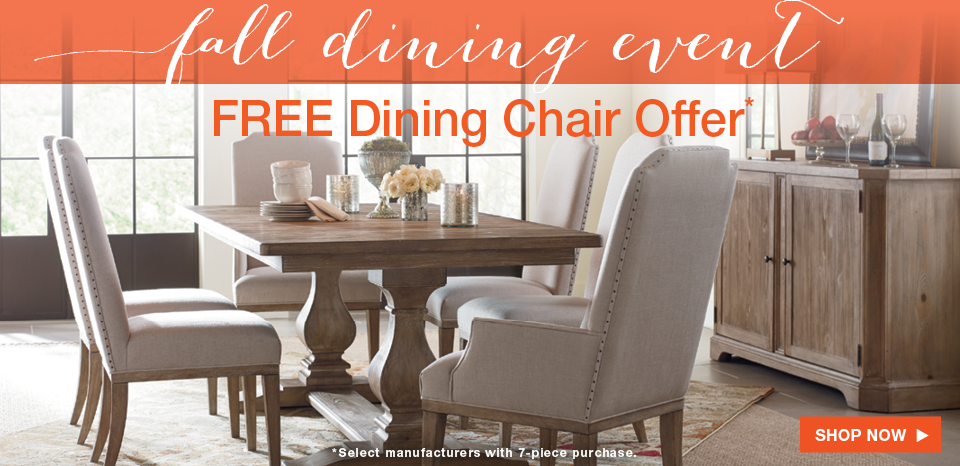 New Monteverdi Dining Room, select collections, receive a free chair with select purchase