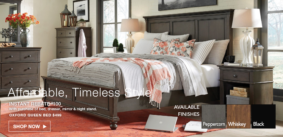 Save $100 on the Oxford bed with 4 piece purchase of bed, dresser, mirror, night stand