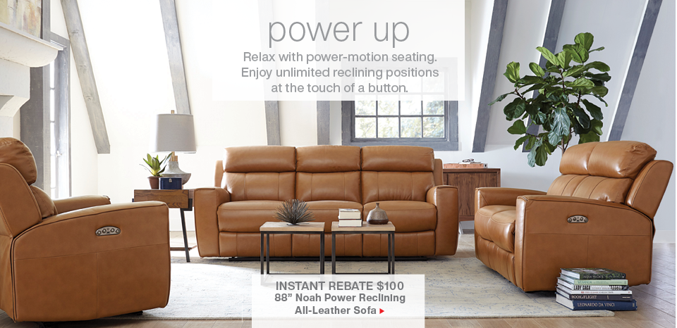 Save $100 Noah power reclining leather sofa