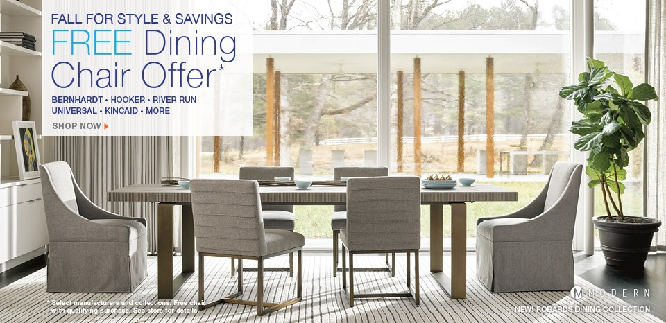 Free dining chair offer, select styles; select manufactureres