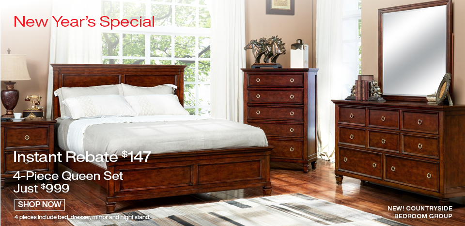 4 piece Countryside bedroom set just $999, inlcudes queen bed, dresser mirror, one night stand