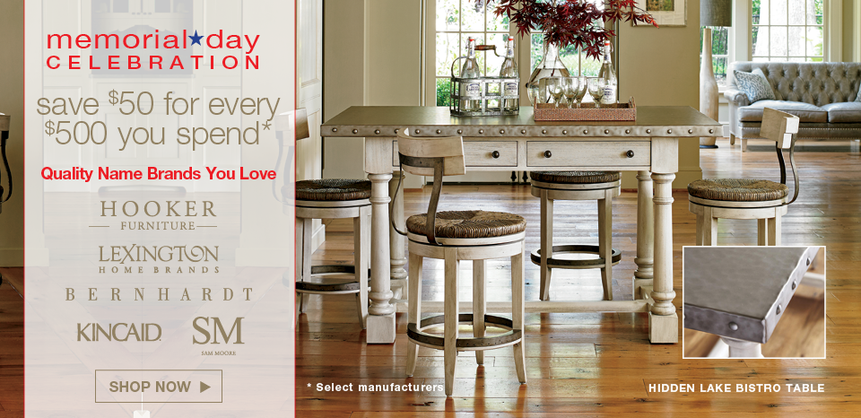 Memorial Day celebration, save $50 for every $500, select manufacturers