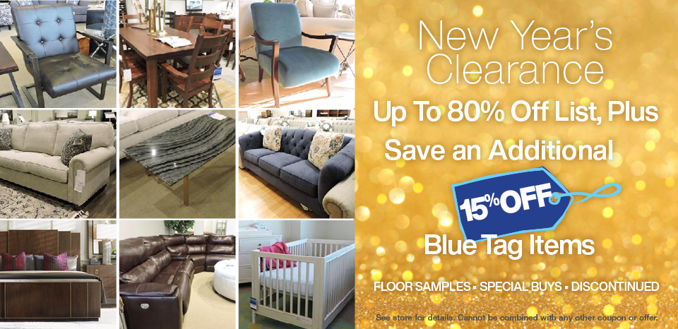 New Year's Clearance Event, extra 15% off Blue Tags