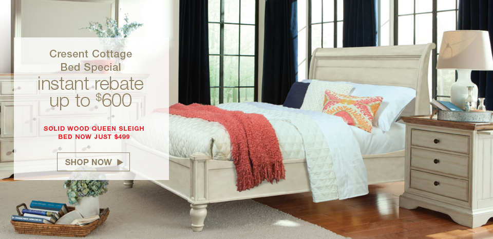 Cresent solid wood Cottage Sleigh Bed, instant rebate up to $600