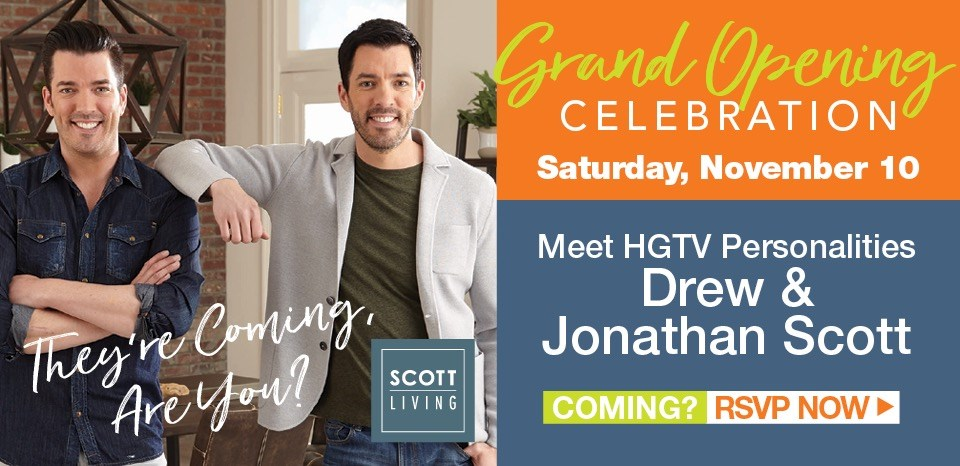 The Scott Brothers are coming to our grand opening celebration Sat., Nov. 10 at 10am, learn more
