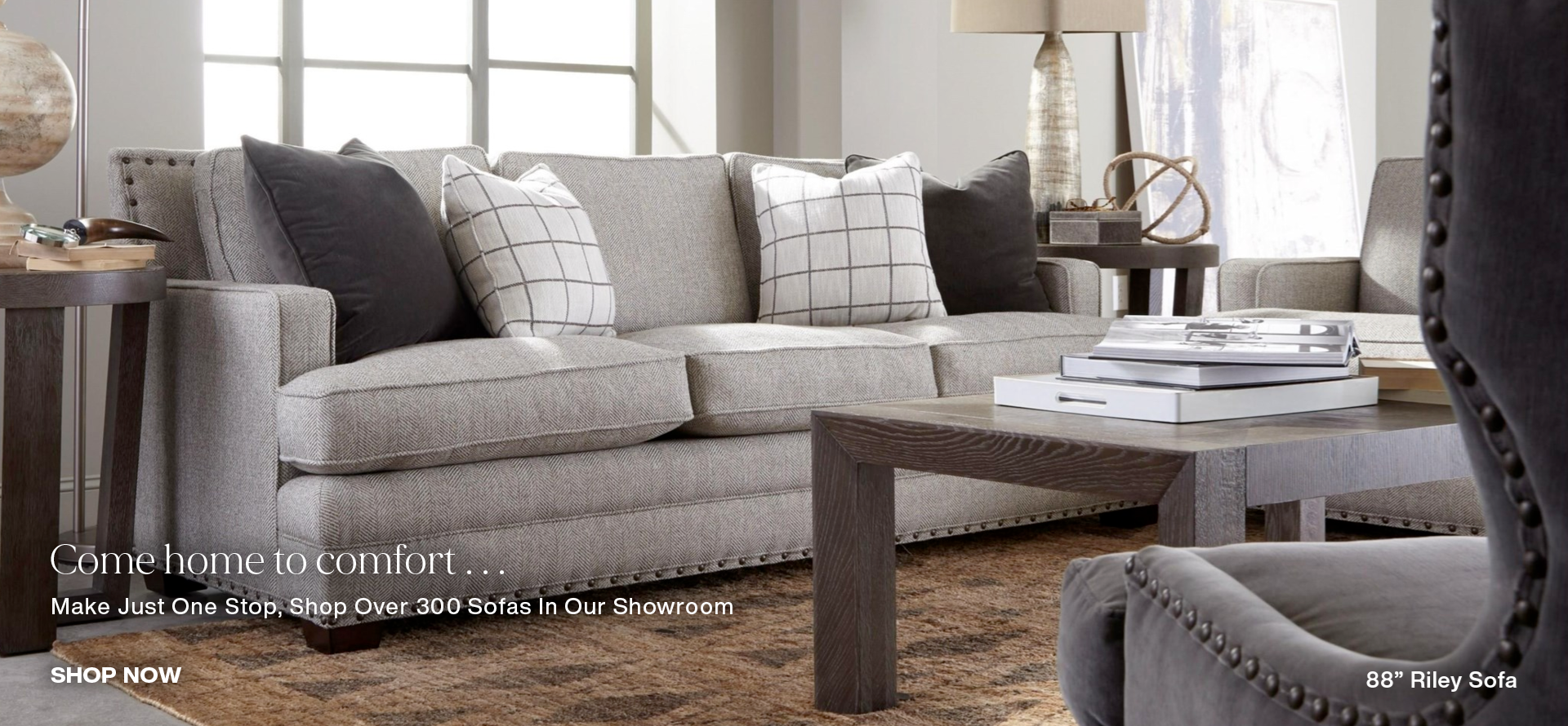 Create a space you'll love, shop over 300 sofas in our showroom