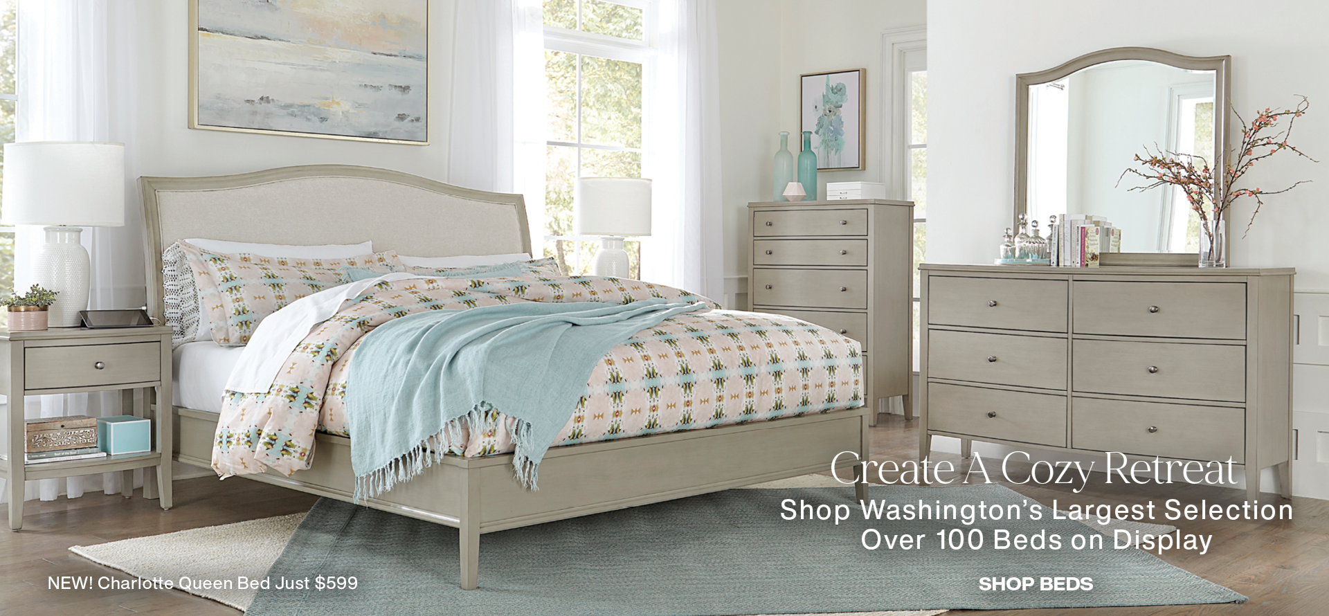 Create a Cozy Retreat, Introducing the Charlotte Queen Bed Just $599