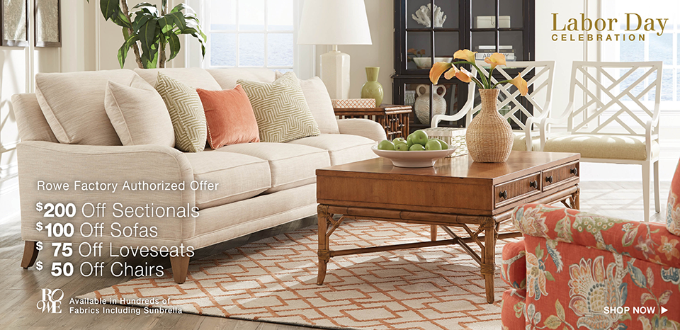Save up to $200 on Rowe sectionals, $100 on Rowe Sofas