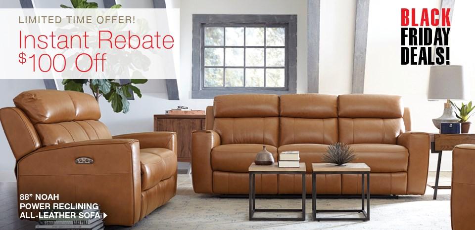 Extra $100 off Noah power reclining leather sofa
