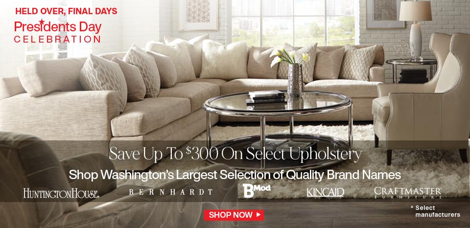 Presidents' Day Celebration, save up to $300 on select upholstery