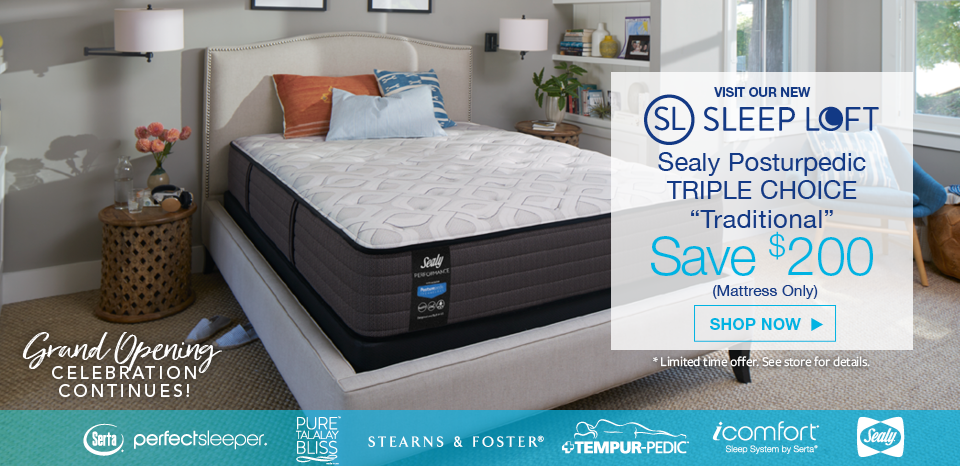 Save $200 on the Sealy Posturepedic Traditional Model, Firm, Cushion Firm, Plush