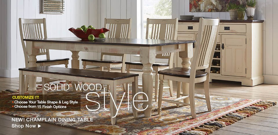 Solid wood, custom dining collections, shop now