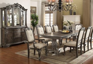 Kiera Dining Set Brown Finish Grey Accents