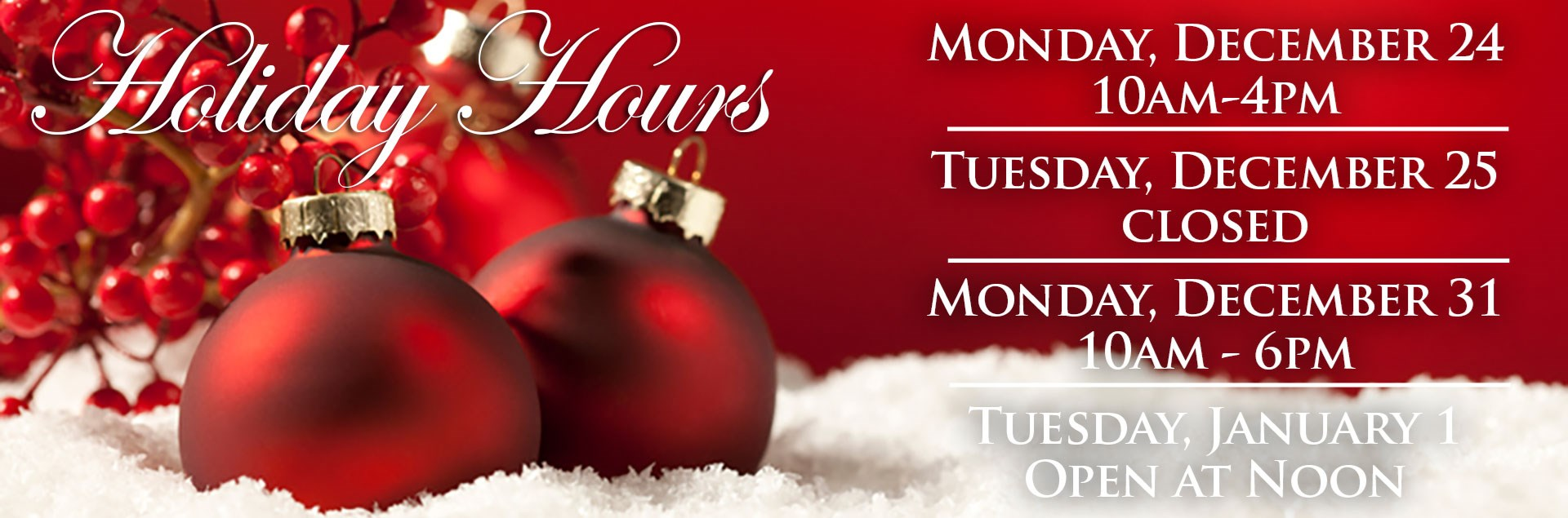 Sadlers Holiday Hours