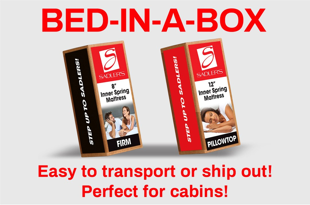 Easy to transport or ship out, bed in a box options are perfect for your cabin or home!