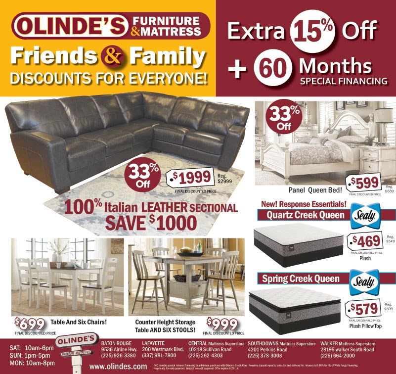 Olinde's Friends & Family Discount Ad