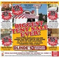 Olinde's Tent Sale Ad 2019