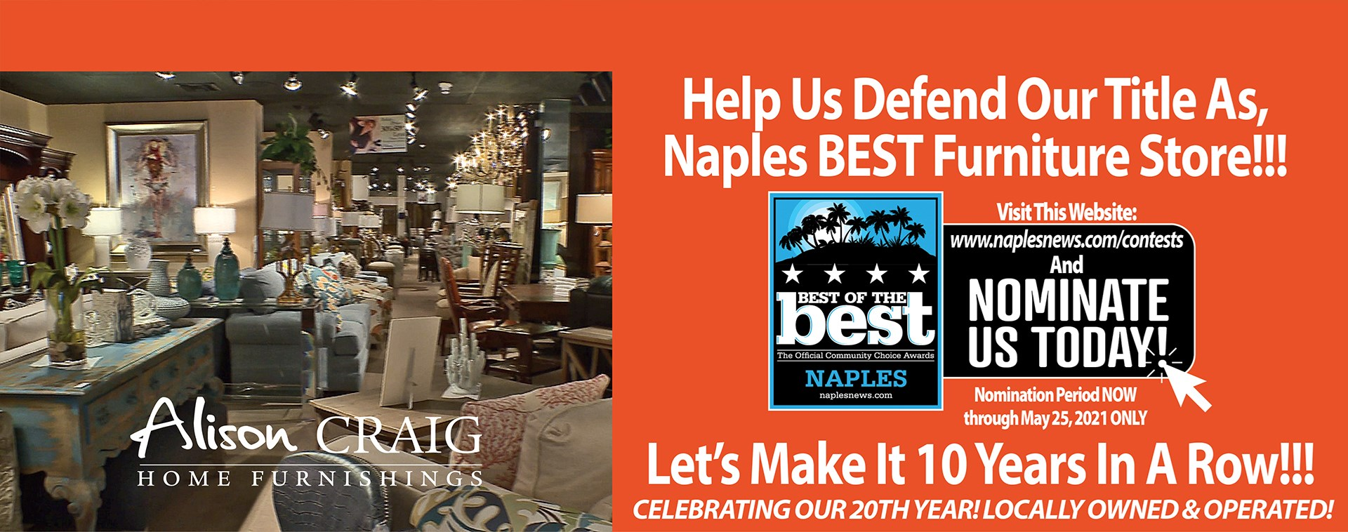 Click To Nominate Us - BEST Furniture Store