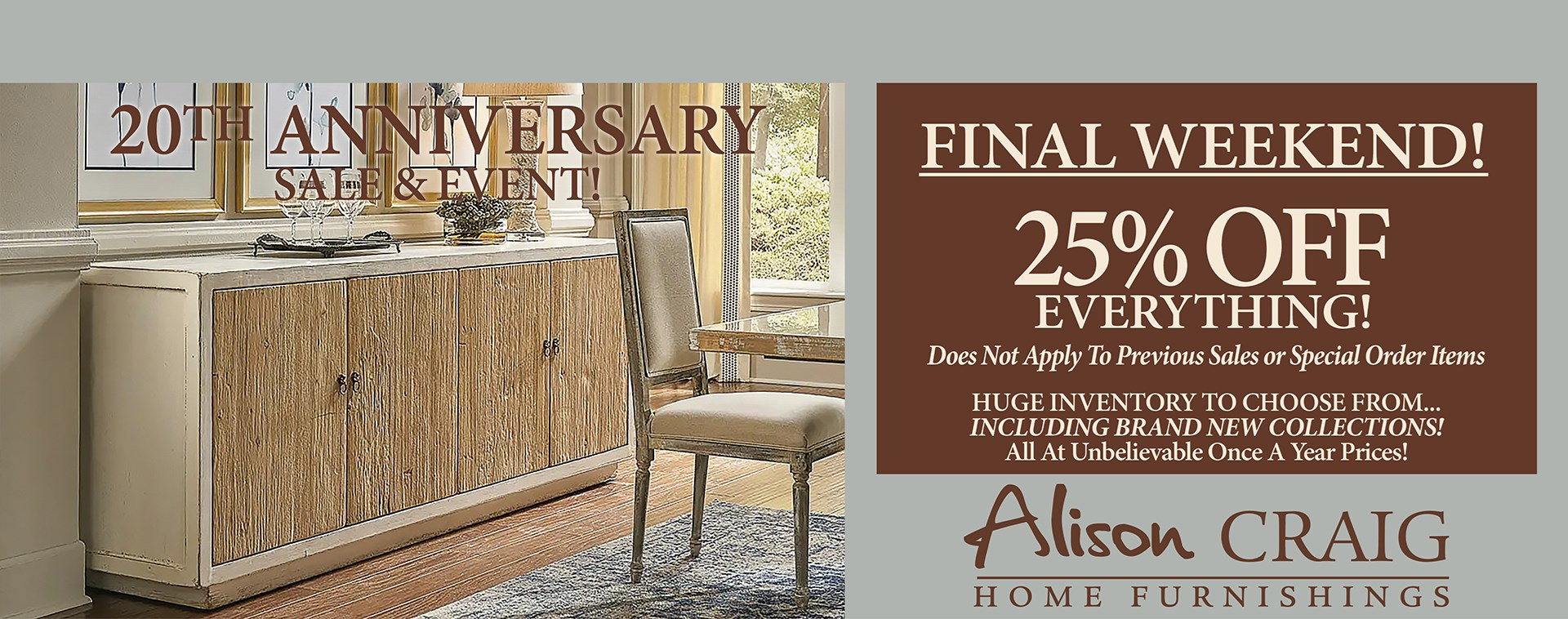 FINAL WEEKEND - 20th Anniversary - 25% OFF EVERYTHING!