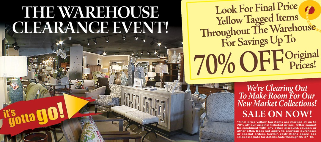 warehouse clearance event on now!