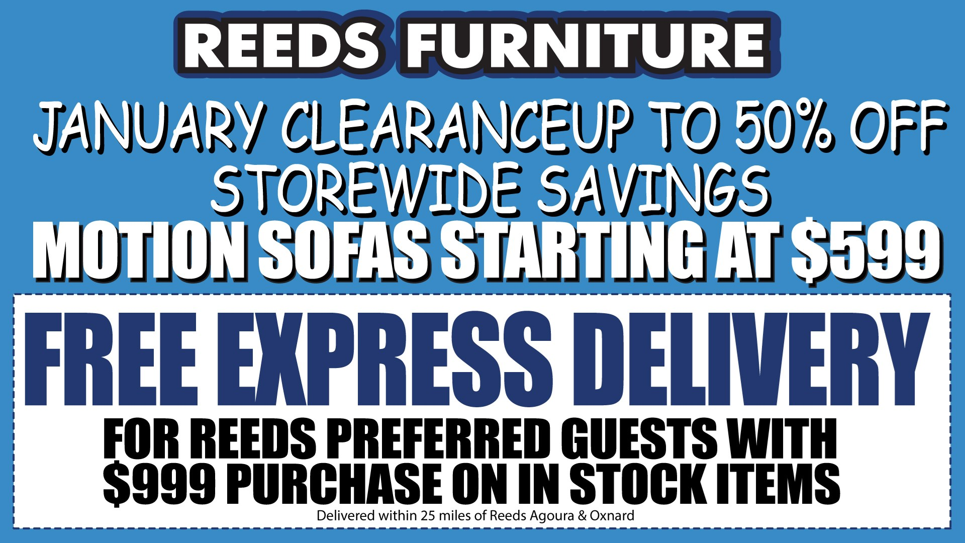 Reeds Furniture January Clearance