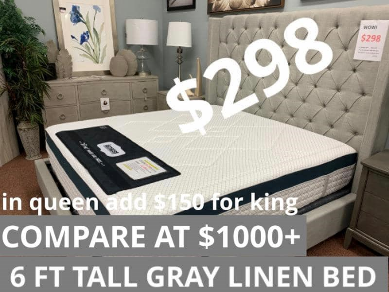 Grey Queen Upholstered Bed for $298