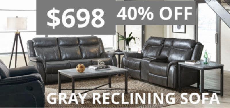 Grey Reclining Sofa for $698
