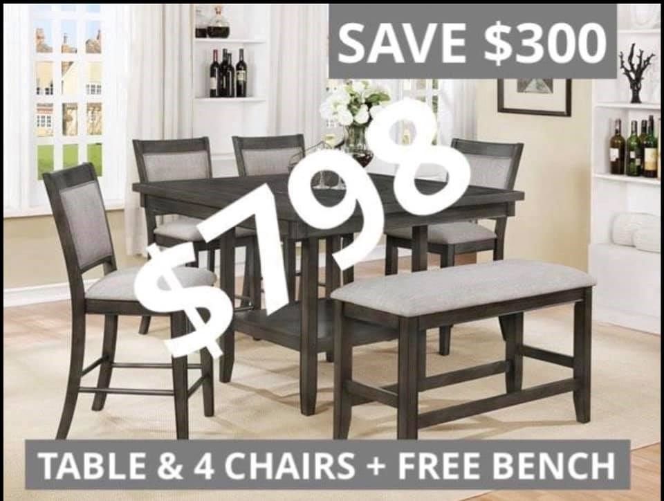4 Chairs and table for $798 free bench included