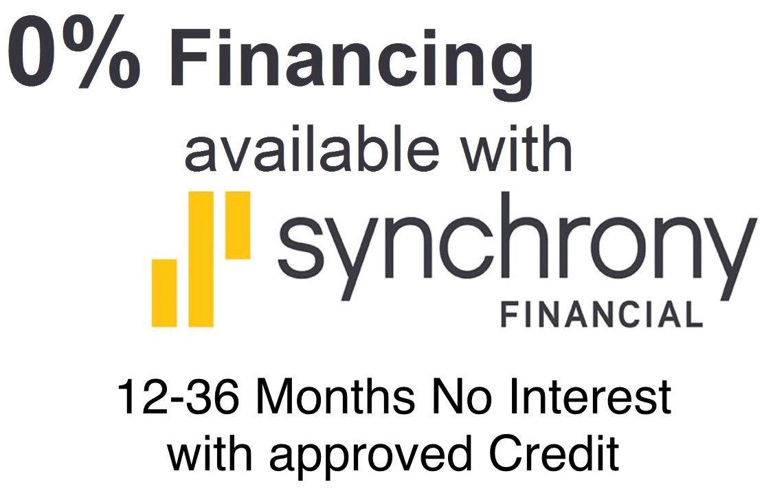 0% Financing avilable with Synchrony Financial - 12-36 Months No Interest with approved Credit