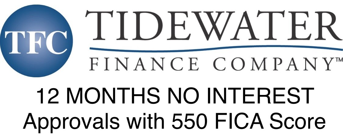 Tidewater Finance Company - 12 Months No Interest | Approvals with 550 FICA Score