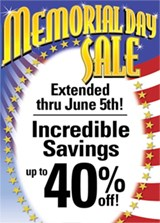Memorial Day Sale - Held Over!
