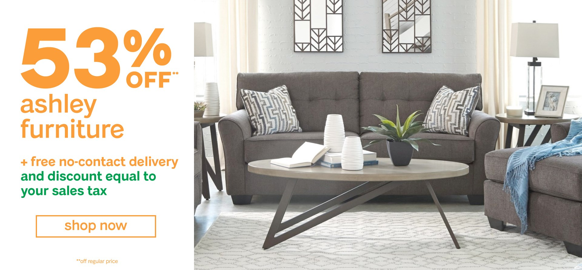 53 percent off on all ashley furniture items