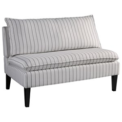 White and grey striped accent sofa