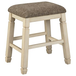 Grey upholstered bar stool with white wooden base