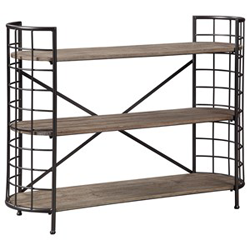 Brown wooden bookcase with black metal accents