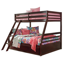 Brown wooden bunk bed with pink and blue bed sheets