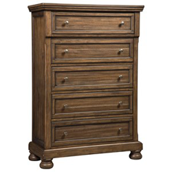Brown wooden chest of drawers