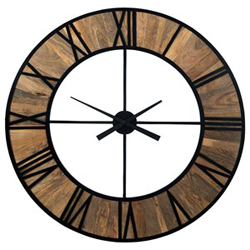 Brown wooden clock with black metal accents