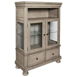White wooden curio cabinet with glass doors