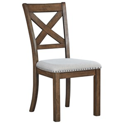 Brown wooden dining chair with grey upholstery and nailhead trim