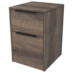 Wooden file cabinet with black metal pulls