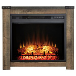 Brown wooden fireplace