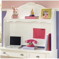 White wooden hutch with kids desk accessories